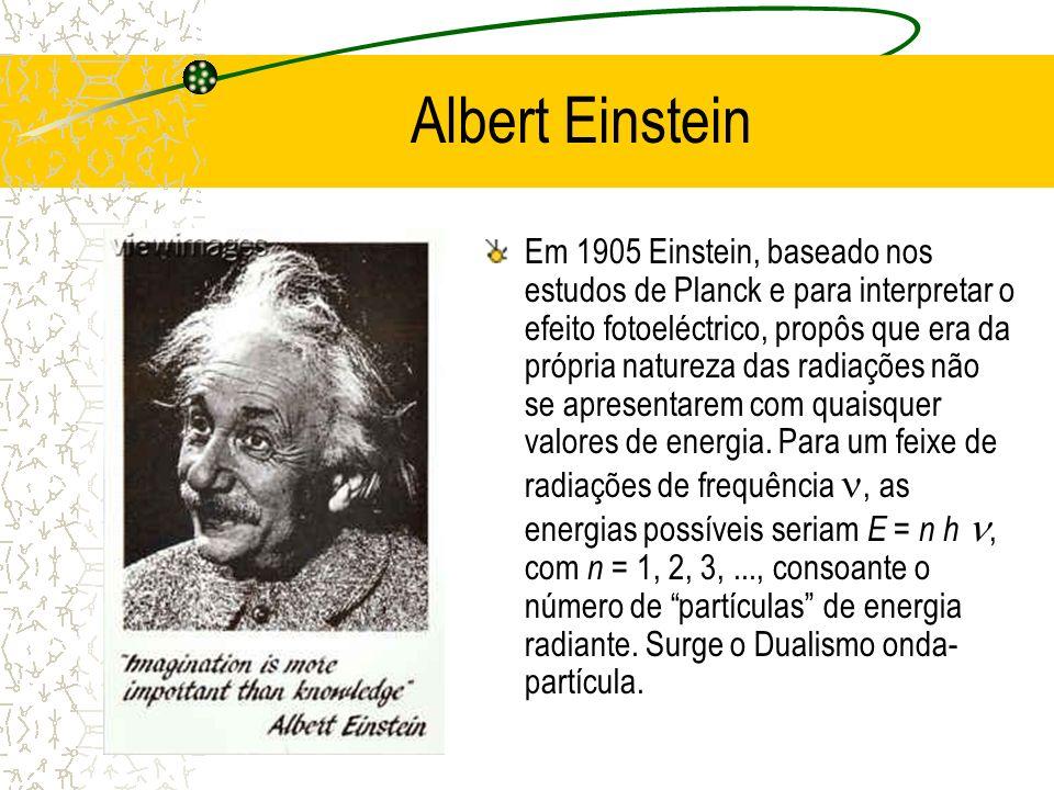 Albert Einstein Em 1905 Einstein, baseado nos estudos de Planck e para interpretar o efeito fotoeléctrico, propôs que era da própria natureza das radi