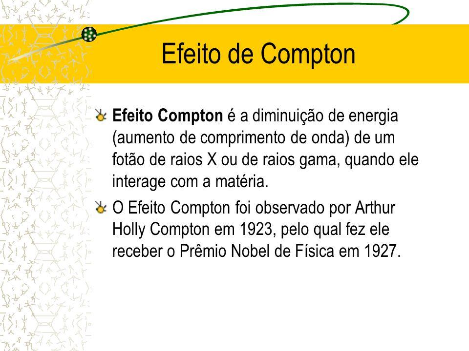 Efeito de Compton Efeito Compton é a diminuição de energia (aumento de comprimento de onda) de um fotão de raios X ou de raios gama, quando ele intera