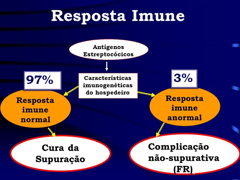 Resposta Imune Antígenos Estreptocócicos Características imunogenéticas do hospedeiro Resposta imune normal Cura da Supuração Complicação não-supurati