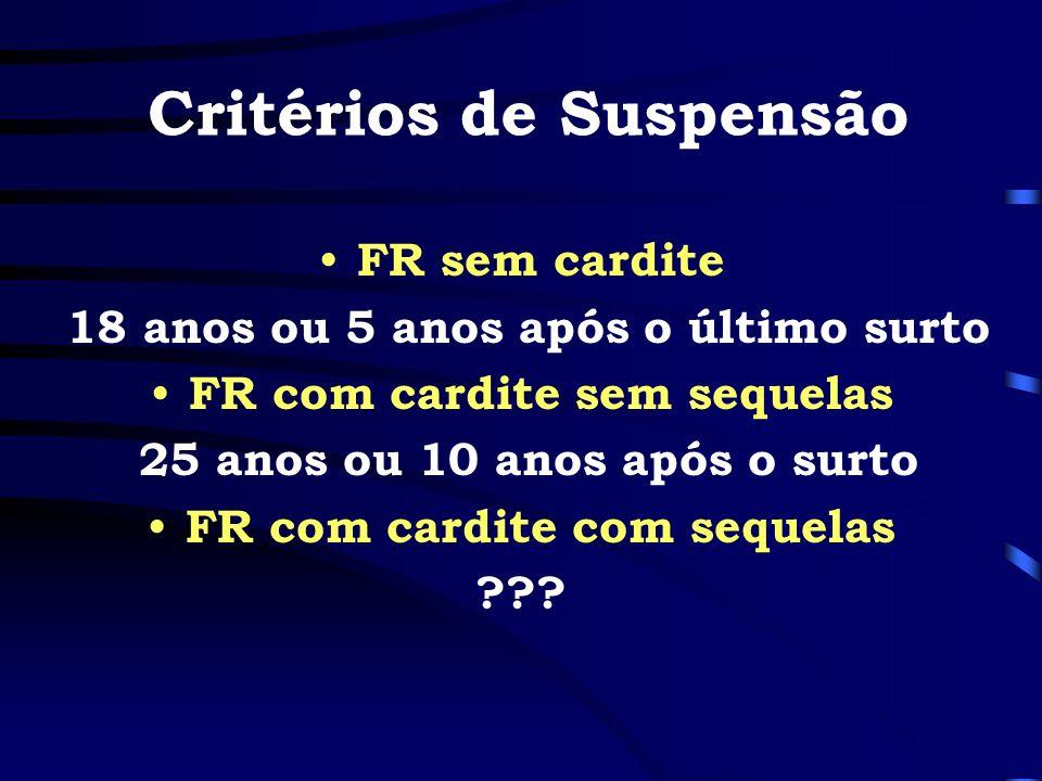 Critérios de Suspensão FR sem cardite 18 anos ou 5 anos após o último surto FR com cardite sem sequelas 25 anos ou 10 anos após o surto FR com cardite
