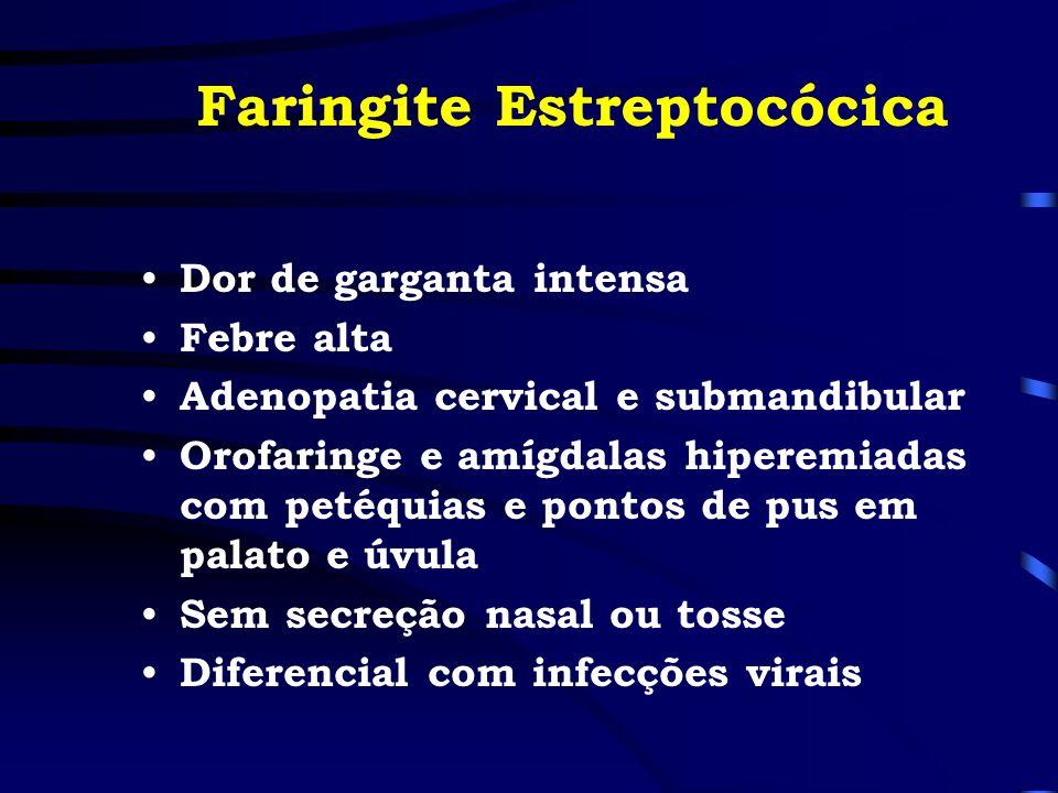 Faringite Estreptocócica Dor de garganta intensa Febre alta Adenopatia cervical e submandibular Orofaringe e amígdalas hiperemiadas com petéquias e po