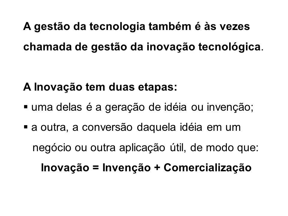 A gestão da tecnologia também é às vezes chamada de gestão da inovação tecnológica. A Inovação tem duas etapas: uma delas é a geração de idéia ou inve