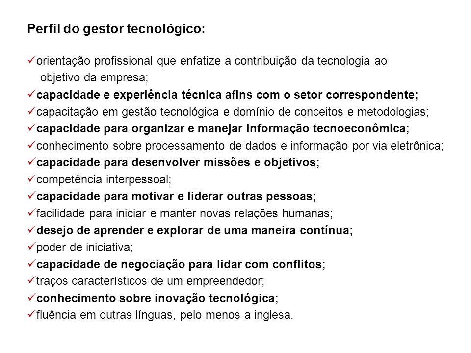 Perfil do gestor tecnológico: orientação profissional que enfatize a contribuição da tecnologia ao objetivo da empresa; capacidade e experiência técni