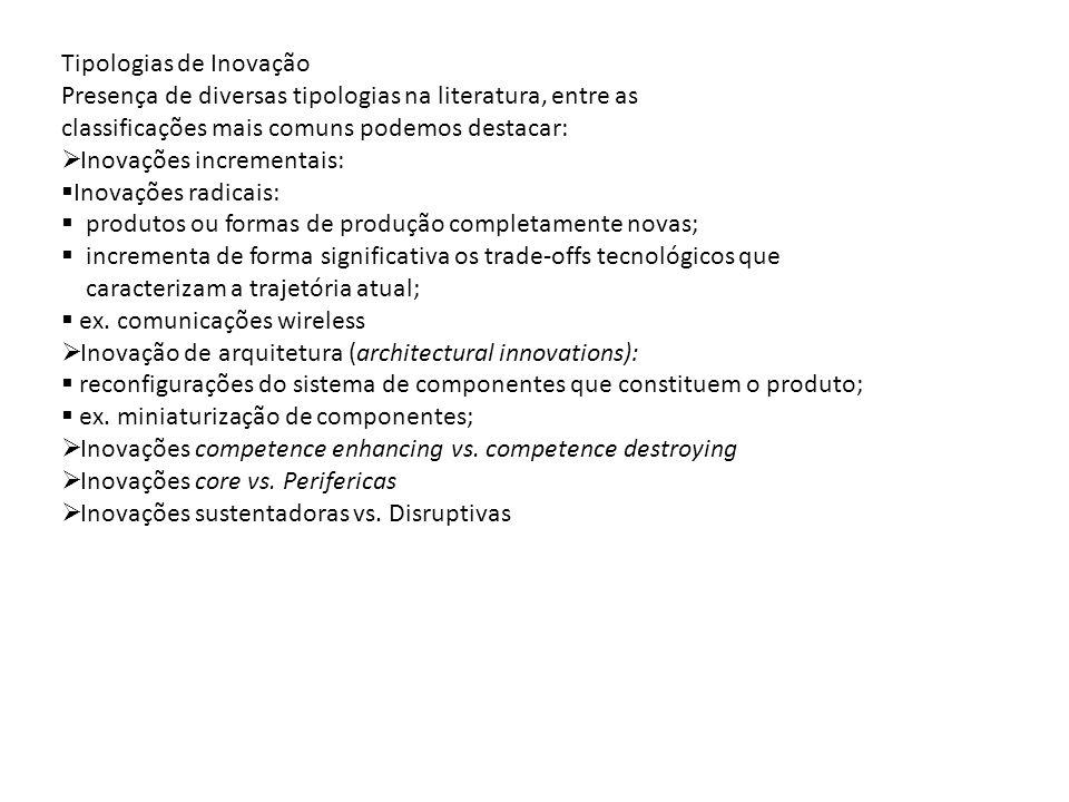 Tipologias de Inovação Presença de diversas tipologias na literatura, entre as classificações mais comuns podemos destacar: Inovações incrementais: In