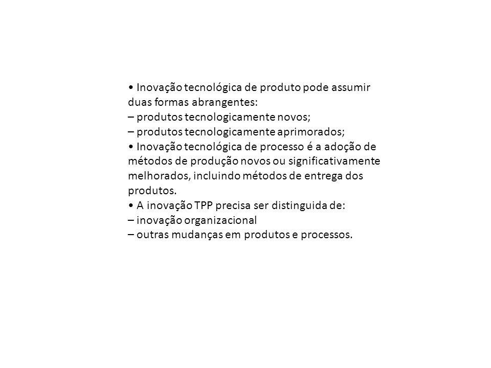 Inovação tecnológica de produto pode assumir duas formas abrangentes: – produtos tecnologicamente novos; – produtos tecnologicamente aprimorados; Inov