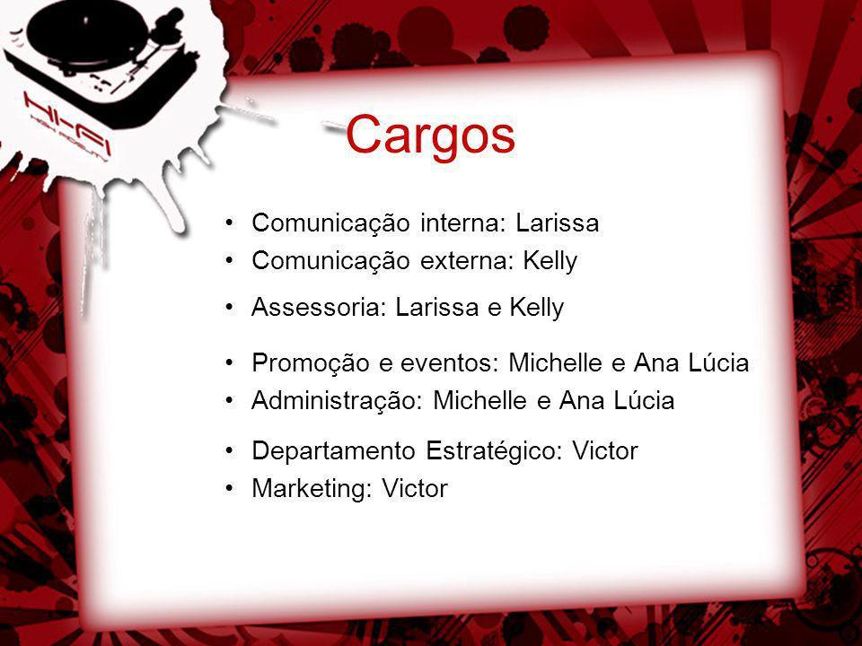Cargos Comunicação interna: Larissa Comunicação externa: Kelly Assessoria: Larissa e Kelly Promoção e eventos: Michelle e Ana Lúcia Administração: Mic