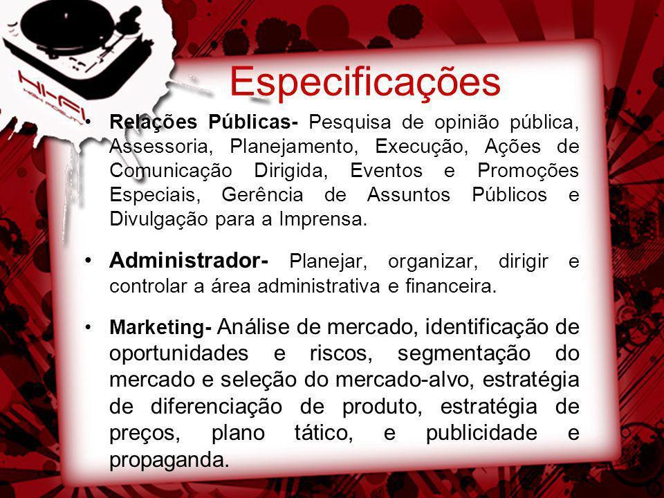 Especificações Relações Públicas- Pesquisa de opinião pública, Assessoria, Planejamento, Execução, Ações de Comunicação Dirigida, Eventos e Promoções