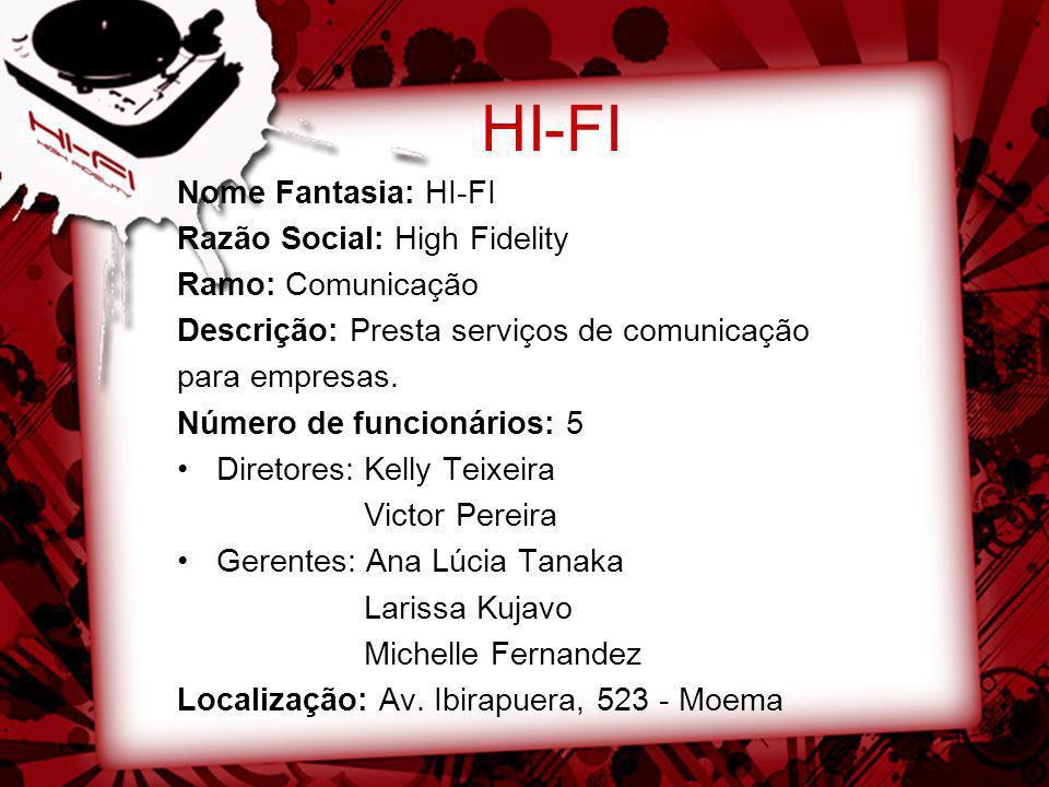 HI-FI Nome Fantasia: HI-FI Razão Social: High Fidelity Ramo: Comunicação Descrição: Presta serviços de comunicação para empresas. Número de funcionári