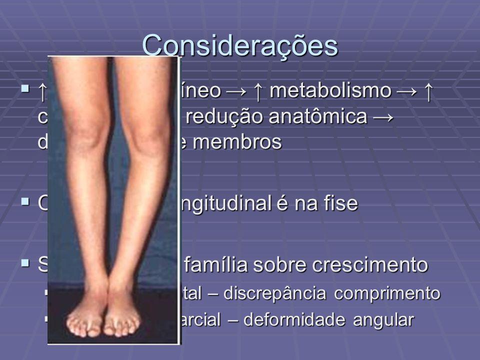 Considerações aporte sanguíneo metabolismo crescimento redução anatômica discrepância de membros aporte sanguíneo metabolismo crescimento redução anat