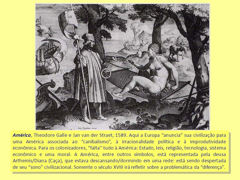 América, Theodore Galle e Jan van der Straet, 1589. Aqui a Europa anuncia sua civilização para uma América associada ao canibalismo, à irracionalidade