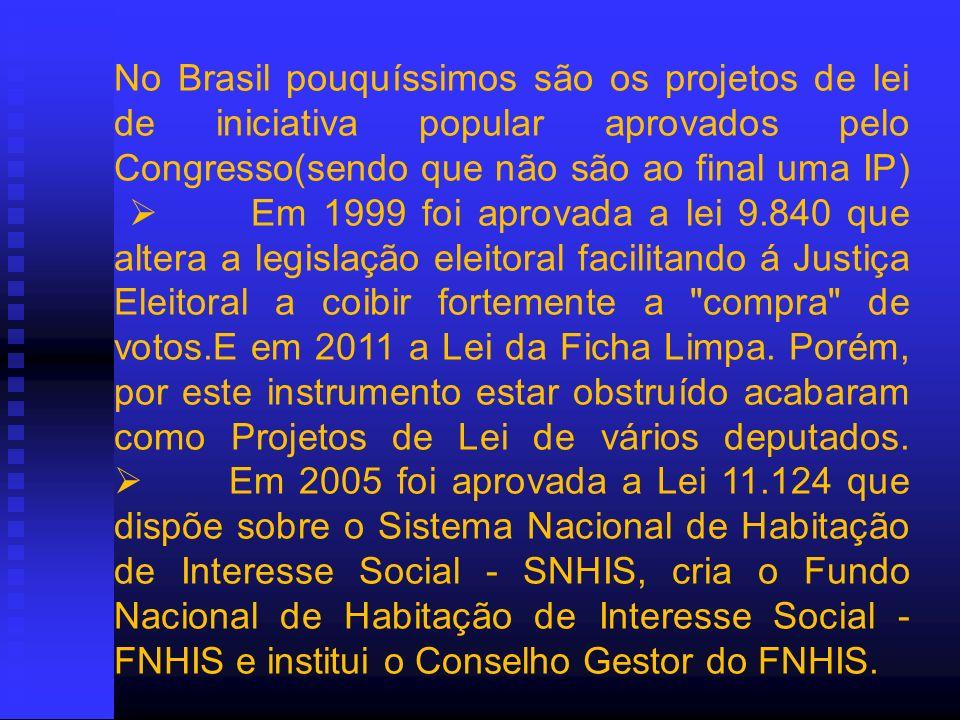 No Brasil pouquíssimos são os projetos de lei de iniciativa popular aprovados pelo Congresso(sendo que não são ao final uma IP) Em 1999 foi aprovada a