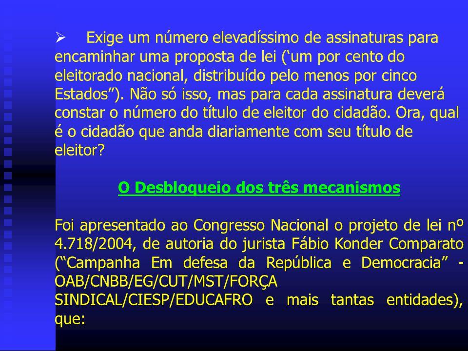 Exige um número elevadíssimo de assinaturas para encaminhar uma proposta de lei (um por cento do eleitorado nacional, distribuído pelo menos por cinco
