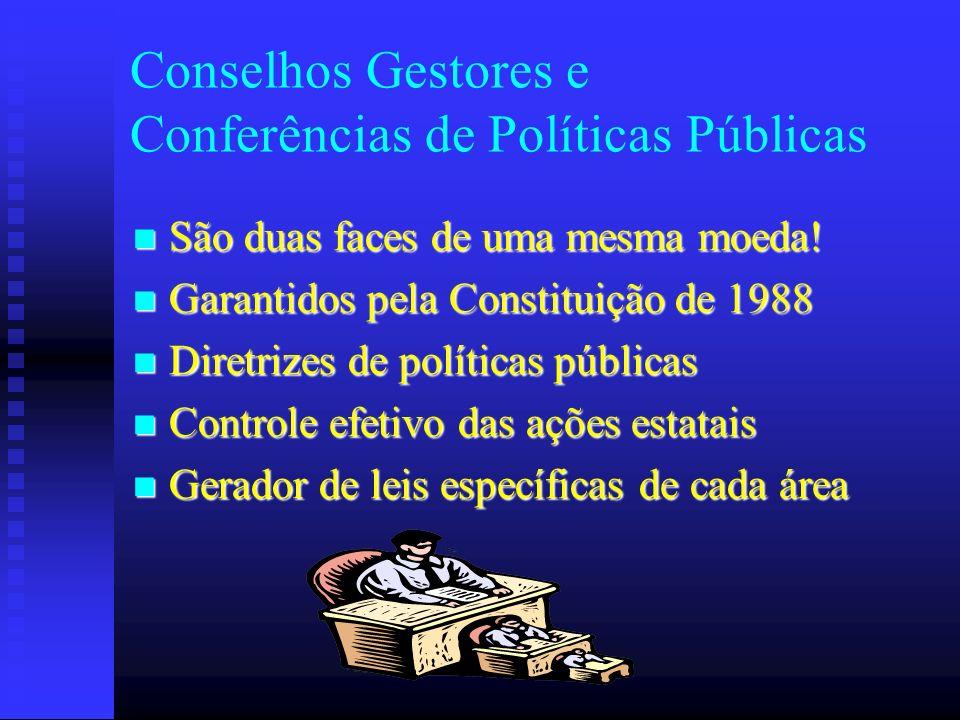 Conselhos Gestores e Conferências de Políticas Públicas São duas faces de uma mesma moeda! São duas faces de uma mesma moeda! Garantidos pela Constitu
