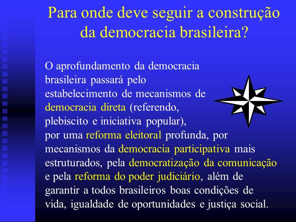 Para onde deve seguir a construção da democracia brasileira? por uma reforma eleitoral profunda, por mecanismos da democracia participativa mais estru