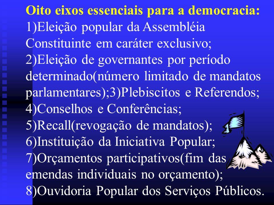 Oito eixos essenciais para a democracia: 1)Eleição popular da Assembléia Constituinte em caráter exclusivo; 2)Eleição de governantes por período deter