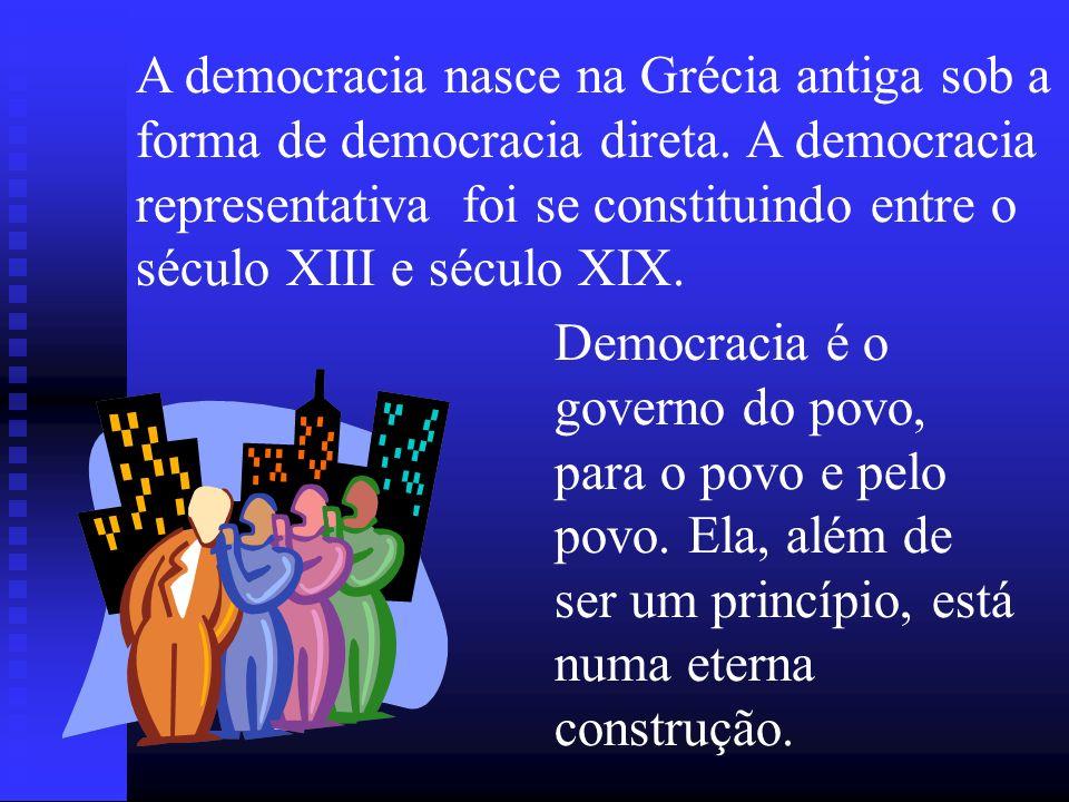 DEMOCRACIA demos = povo e kratia = poder Democracia Participativa: Democracia Participativa: ou democracia direta é o modelo de organização política na qual o povo além de ser o titular legítimo do poder supremo, pode e deve exercê-lo diretamente.