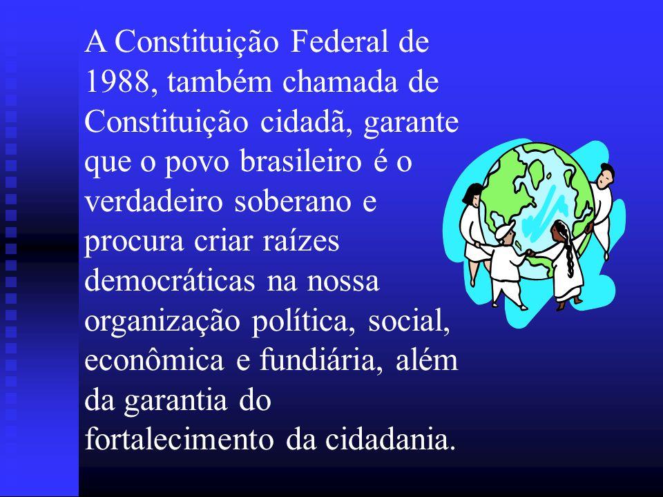 A Constituição Federal de 1988, também chamada de Constituição cidadã, garante que o povo brasileiro é o verdadeiro soberano e procura criar raízes de