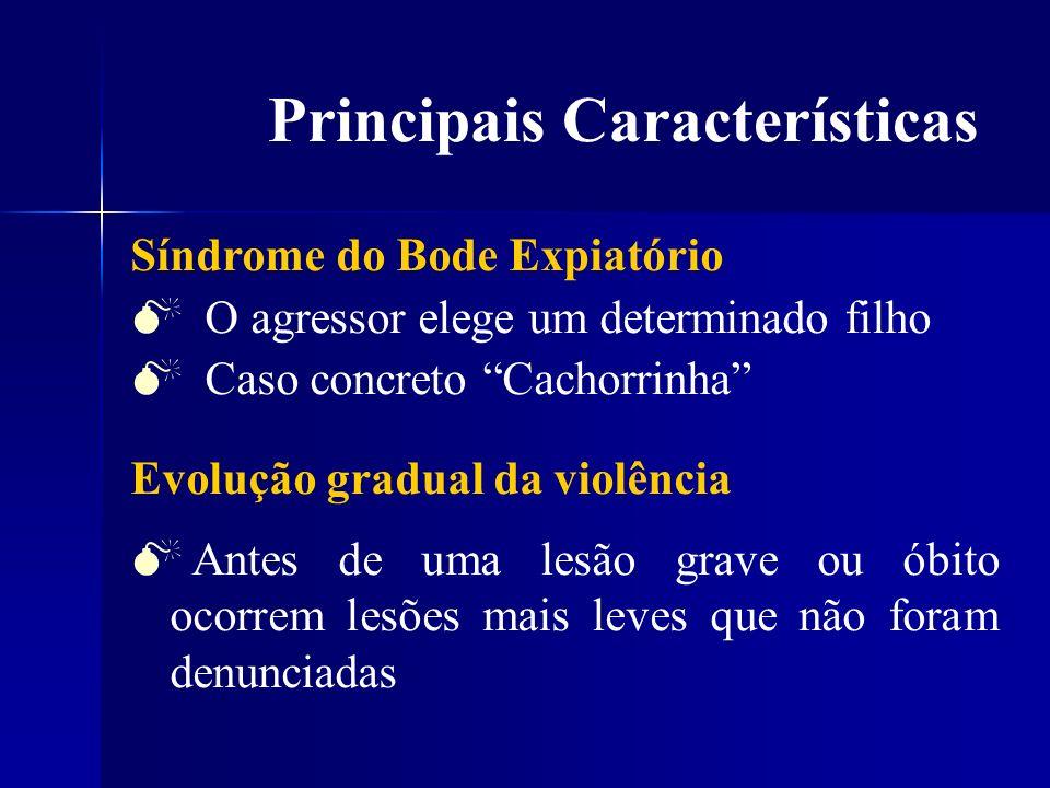 Principais Características Os agressores de violência física geralmente são pessoas normais Só 10% de quadros psiquiátricos graves Idade das vítimas Faixa etária mais atingida: 07 aos 13 anos Idade média: - Sexo feminino: 10 anos - Sexo masculino: 8 anos
