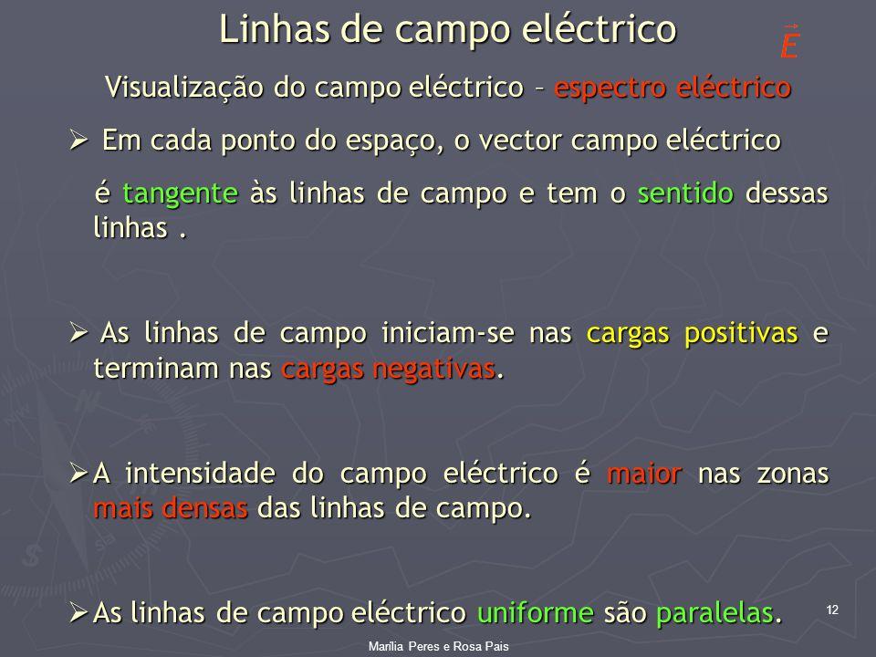 12 Linhas de campo eléctrico Visualização do campo eléctrico – espectro eléctrico Em cada ponto do espaço, o vector campo eléctrico Em cada ponto do e