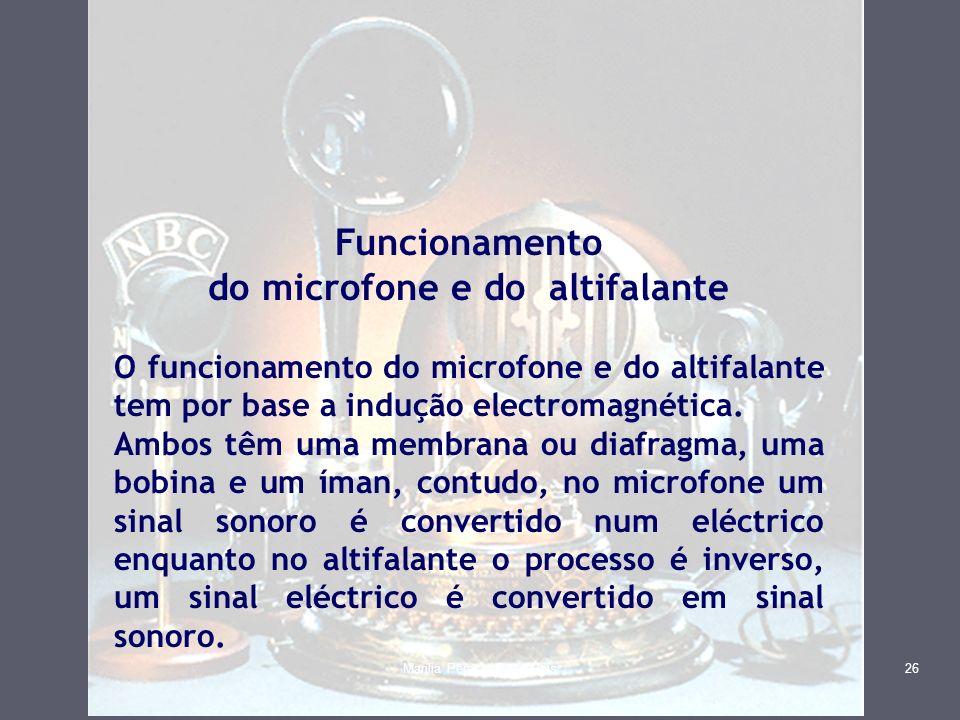 Funcionamento do microfone e do altifalante O funcionamento do microfone e do altifalante tem por base a indução electromagnética. Ambos têm uma membr