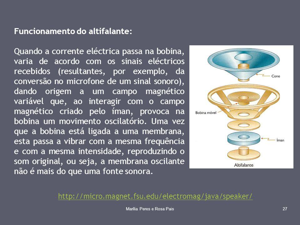 Funcionamento do altifalante: Quando a corrente eléctrica passa na bobina, varia de acordo com os sinais eléctricos recebidos (resultantes, por exempl