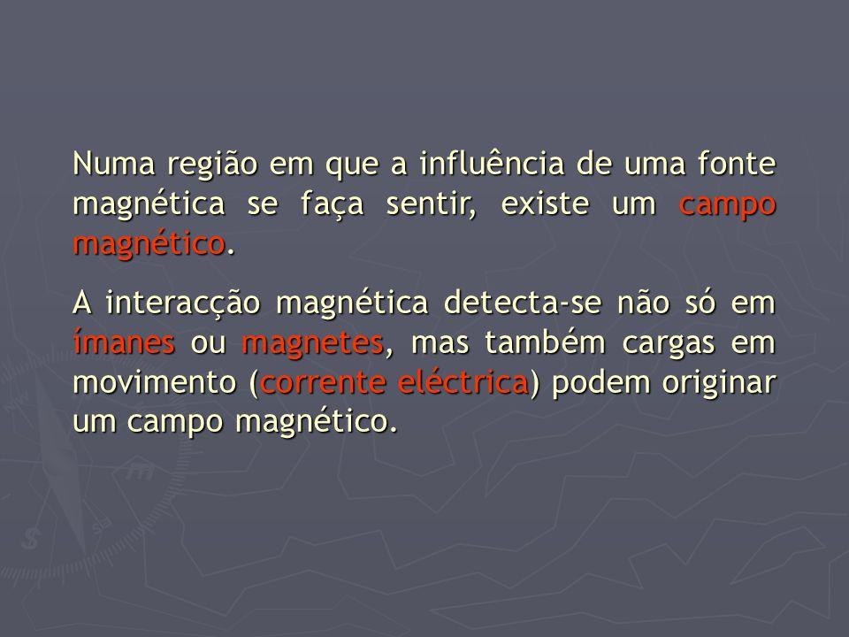 Numa região em que a influência de uma fonte magnética se faça sentir, existe um campo magnético. A interacção magnética detecta-se não só em ímanes o