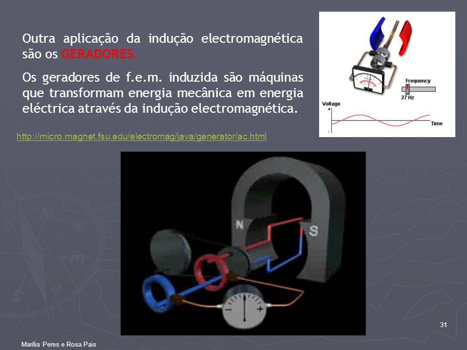 31 http://micro.magnet.fsu.edu/electromag/java/generator/ac.html Outra aplicação da indução electromagnética são os GERADORES. Os geradores de f.e.m.