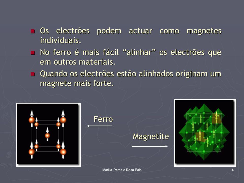 4 Os electrões podem actuar como magnetes individuais. Os electrões podem actuar como magnetes individuais. No ferro é mais fácil alinhar os electrões