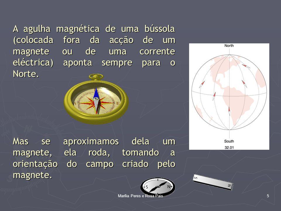 6 O campo magnético é uma grandeza vectorial que tem uma indução magnética que se representa pelo vector A unidade SI da intensidade de indução magnética é o tesla (T) Outra unidade (não pertence ao SI) é o gauss (G) 1 G = 1 x 10 -4 T http://www.commarts.com/ca/interactive/cai03/02_ia03.html http://tesladownunder.iinet.net.au/tesla_coil_sparks.htm Marília Peres e Rosa Pais