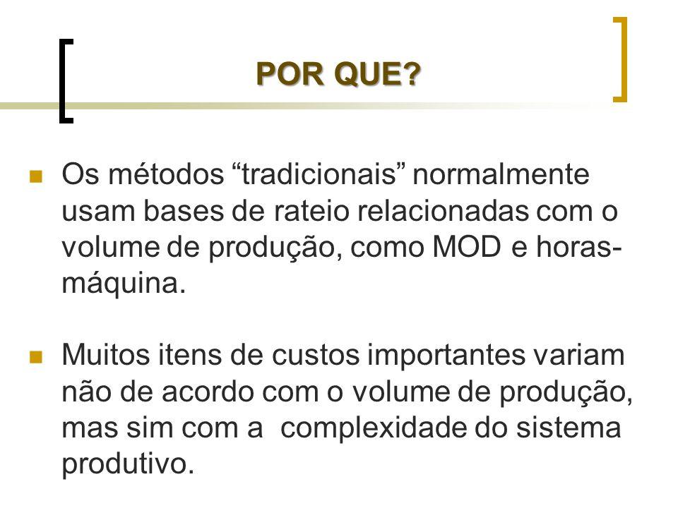 Os métodos tradicionais normalmente usam bases de rateio relacionadas com o volume de produção, como MOD e horas- máquina. Muitos itens de custos impo