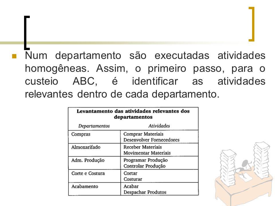 Num departamento são executadas atividades homogêneas. Assim, o primeiro passo, para o custeio ABC, é identificar as atividades relevantes dentro de c