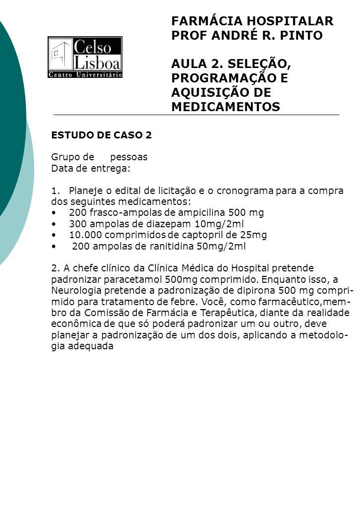 FARMÁCIA HOSPITALAR PROF ANDRÉ R. PINTO AULA 2. SELEÇÃO, PROGRAMAÇÃO E AQUISIÇÃO DE MEDICAMENTOS ESTUDO DE CASO 2 Grupo de pessoas Data de entrega: 1.