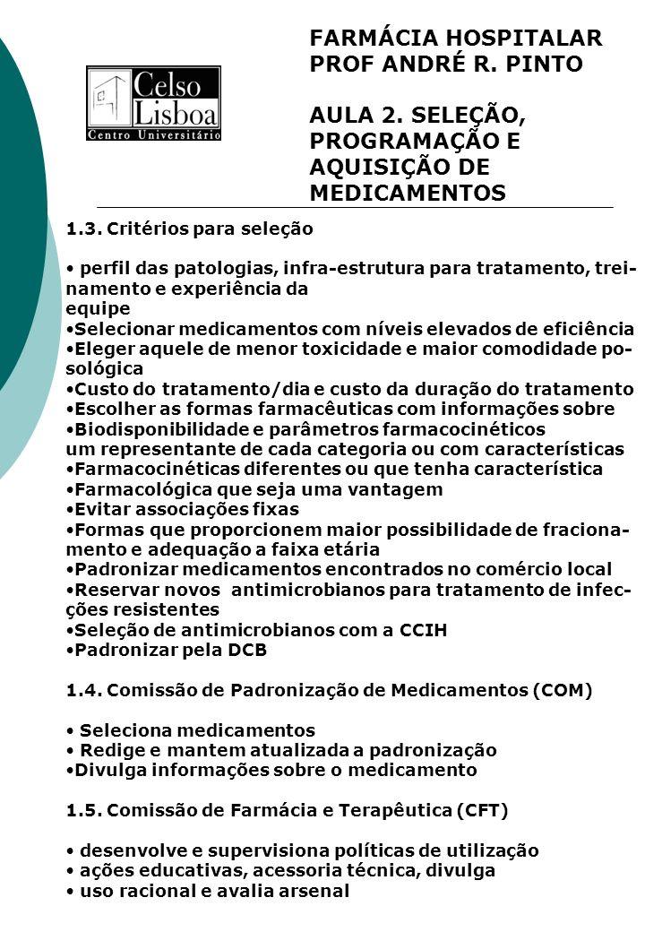 FARMÁCIA HOSPITALAR PROF ANDRÉ R. PINTO AULA 2. SELEÇÃO, PROGRAMAÇÃO E AQUISIÇÃO DE MEDICAMENTOS 1.3. Critérios para seleção perfil das patologias, in
