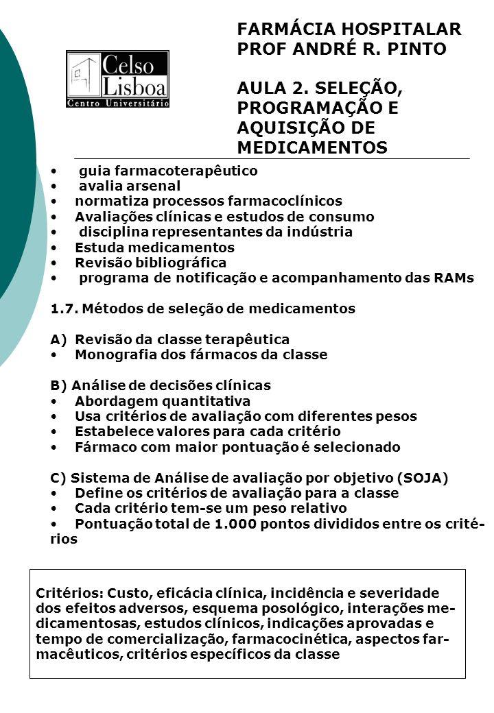 FARMÁCIA HOSPITALAR PROF ANDRÉ R. PINTO AULA 2. SELEÇÃO, PROGRAMAÇÃO E AQUISIÇÃO DE MEDICAMENTOS guia farmacoterapêutico avalia arsenal normatiza proc