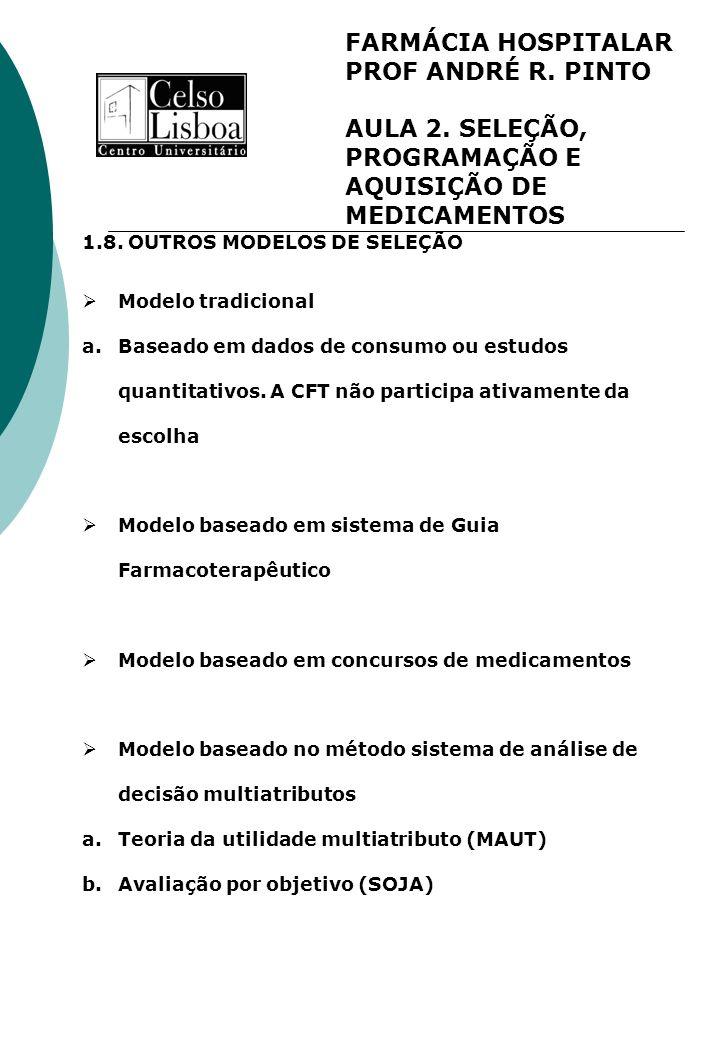 FARMÁCIA HOSPITALAR PROF ANDRÉ R. PINTO AULA 2. SELEÇÃO, PROGRAMAÇÃO E AQUISIÇÃO DE MEDICAMENTOS 1.8. OUTROS MODELOS DE SELEÇÃO Modelo tradicional a.B