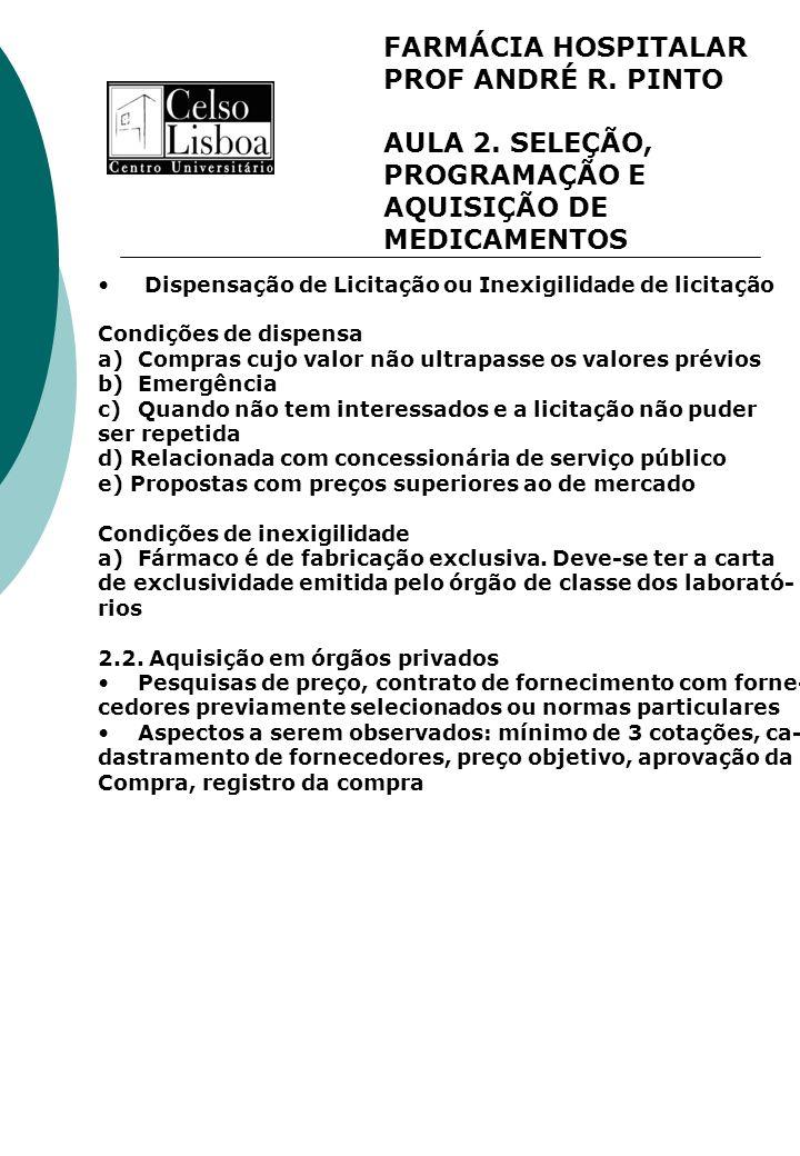 FARMÁCIA HOSPITALAR PROF ANDRÉ R. PINTO AULA 2. SELEÇÃO, PROGRAMAÇÃO E AQUISIÇÃO DE MEDICAMENTOS Dispensação de Licitação ou Inexigilidade de licitaçã