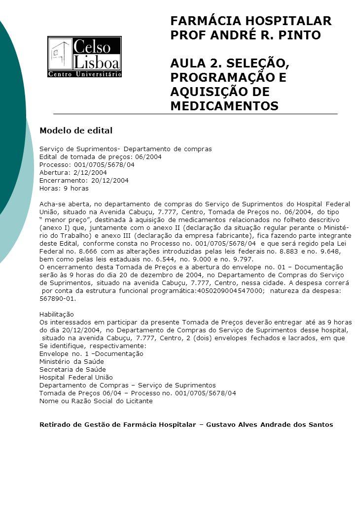 FARMÁCIA HOSPITALAR PROF ANDRÉ R. PINTO AULA 2. SELEÇÃO, PROGRAMAÇÃO E AQUISIÇÃO DE MEDICAMENTOS Modelo de edital Serviço de Suprimentos- Departamento