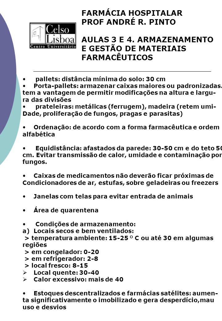 FARMÁCIA HOSPITALAR PROF ANDRÉ R. PINTO AULAS 3 E 4. ARMAZENAMENTO E GESTÃO DE MATERIAIS FARMACÊUTICOS pallets: distância mínima do solo: 30 cm Porta-