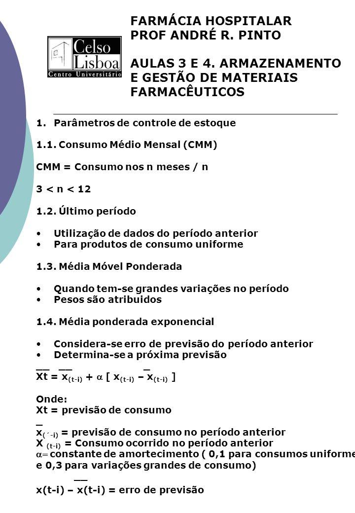 FARMÁCIA HOSPITALAR PROF ANDRÉ R. PINTO AULAS 3 E 4. ARMAZENAMENTO E GESTÃO DE MATERIAIS FARMACÊUTICOS 1.Parâmetros de controle de estoque 1.1. Consum