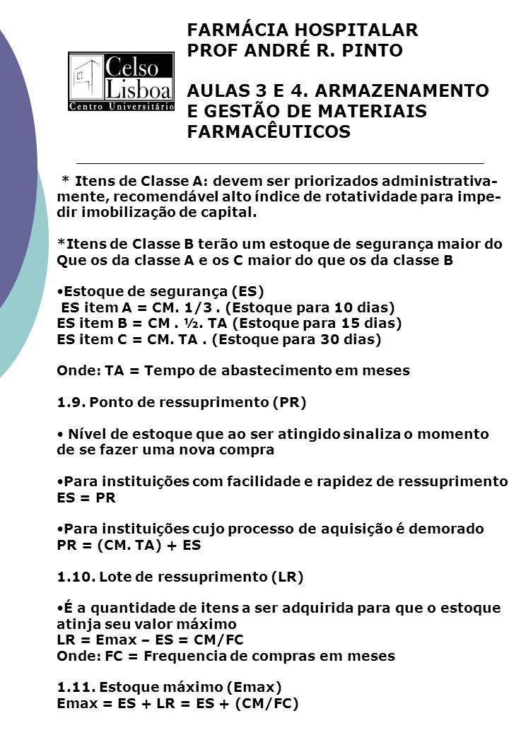 FARMÁCIA HOSPITALAR PROF ANDRÉ R. PINTO AULAS 3 E 4. ARMAZENAMENTO E GESTÃO DE MATERIAIS FARMACÊUTICOS * Itens de Classe A: devem ser priorizados admi