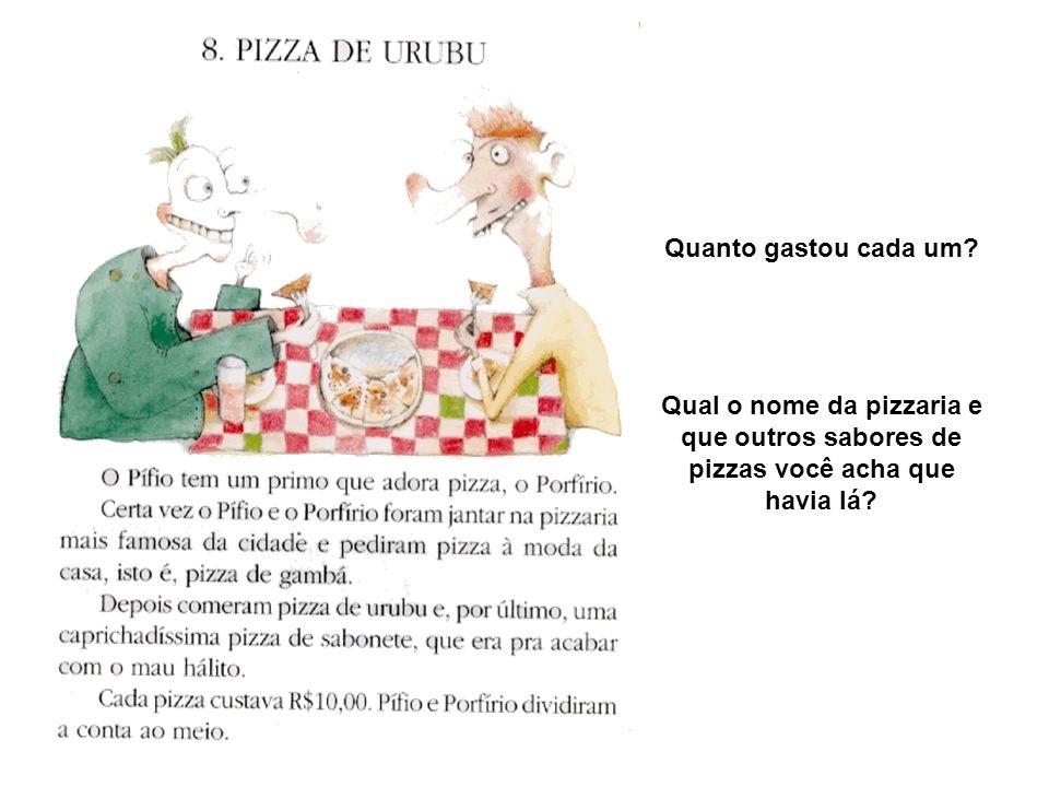 Quanto gastou cada um? Qual o nome da pizzaria e que outros sabores de pizzas você acha que havia lá?