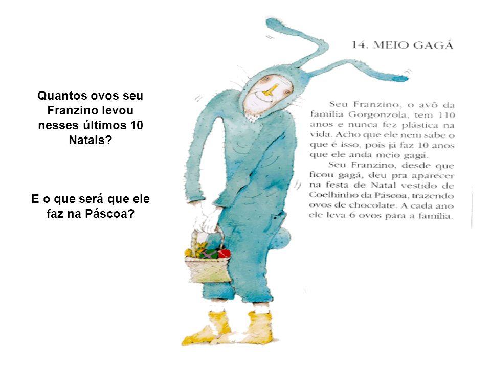 Quantos ovos seu Franzino levou nesses últimos 10 Natais? E o que será que ele faz na Páscoa?