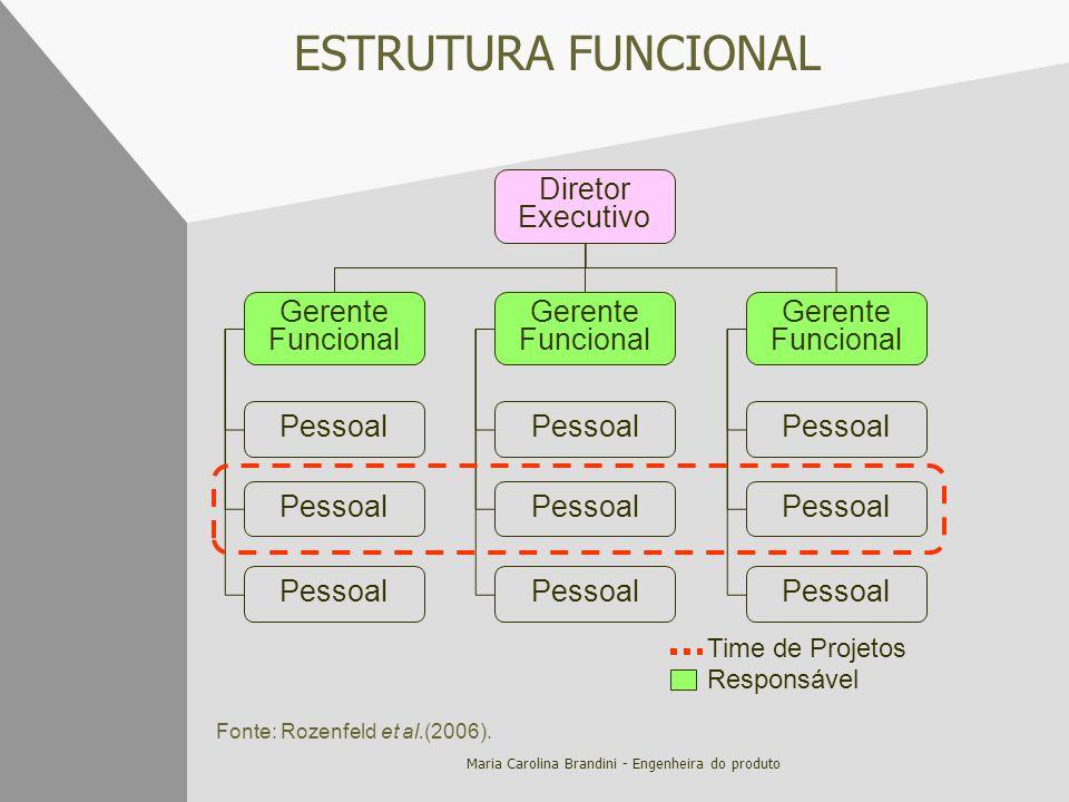 Maria Carolina Brandini - Engenheira do produto ESTRUTURA FUNCIONAL Diretor Executivo Gerente Funcional Pessoal Time de Projetos Responsável Fonte: Ro