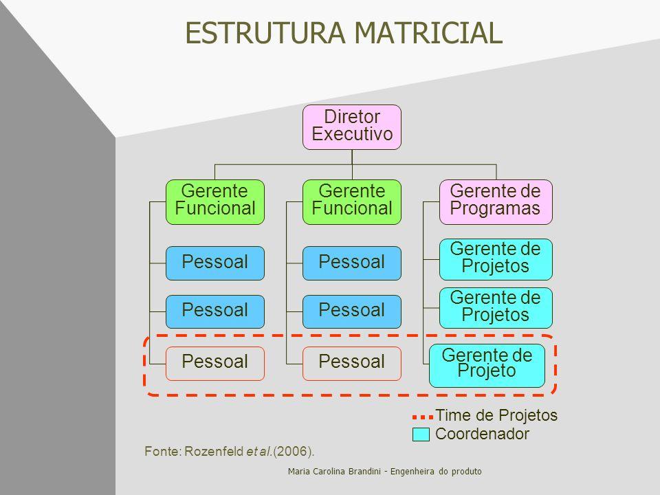 Maria Carolina Brandini - Engenheira do produto ESTRUTURA MATRICIAL Time de Projetos Coordenador Diretor Executivo Gerente Funcional Gerente de Progra