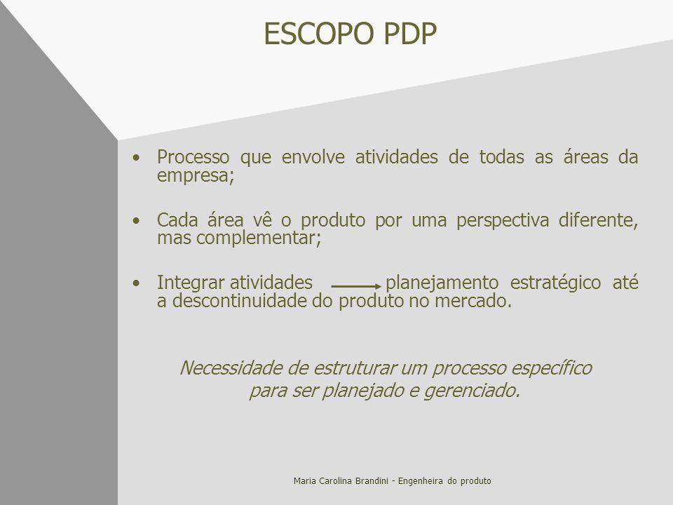 Maria Carolina Brandini - Engenheira do produto ESCOPO PDP Processo que envolve atividades de todas as áreas da empresa; Cada área vê o produto por um