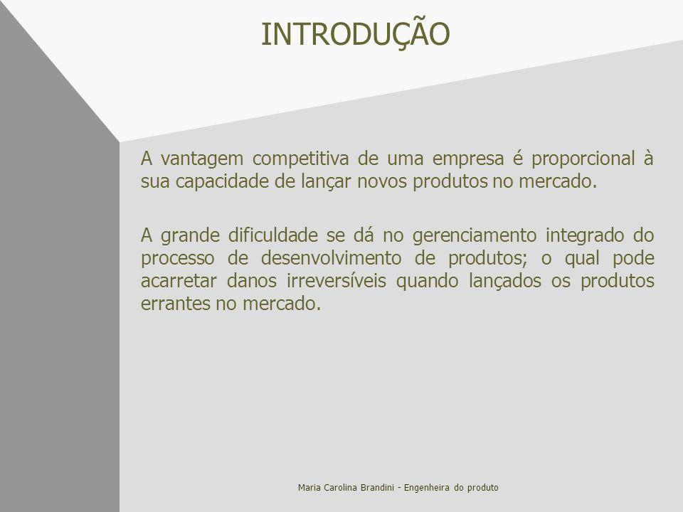 Maria Carolina Brandini - Engenheira do produto INTRODUÇÃO A vantagem competitiva de uma empresa é proporcional à sua capacidade de lançar novos produ