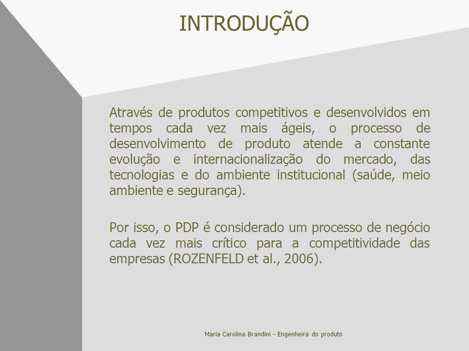 Maria Carolina Brandini - Engenheira do produto INTRODUÇÃO Através de produtos competitivos e desenvolvidos em tempos cada vez mais ágeis, o processo