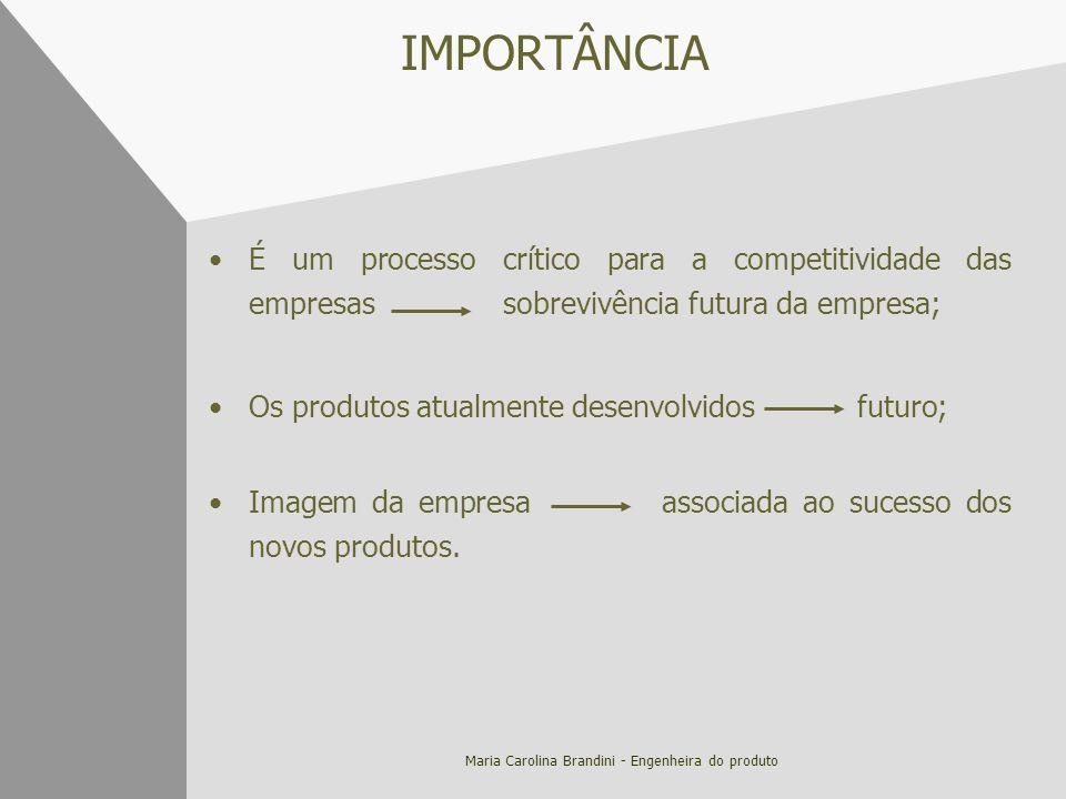Maria Carolina Brandini - Engenheira do produto IMPORTÂNCIA É um processo crítico para a competitividade das empresas sobrevivência futura da empresa;