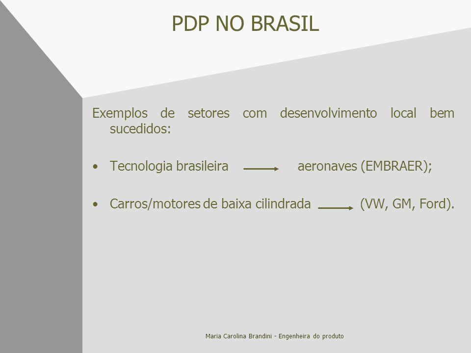 Maria Carolina Brandini - Engenheira do produto PDP NO BRASIL Exemplos de setores com desenvolvimento local bem sucedidos: Tecnologia brasileira aeron
