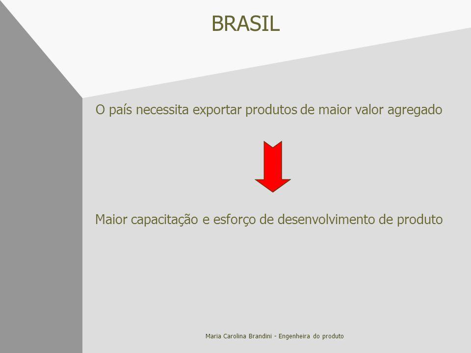 Maria Carolina Brandini - Engenheira do produto BRASIL O país necessita exportar produtos de maior valor agregado Maior capacitação e esforço de desen